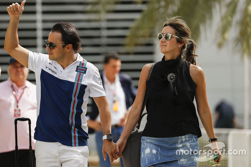 Felipe Massa, Williams, with his wife