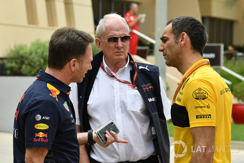 Christian Horner, Red Bull Racing Team Principal, Dr Helmut Marko, Red Bull Motorsport Consultant and Cyril Abiteboul, Renault Sport F1 Managing Director