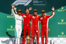 Podium: second place Lewis Hamilton, Mercedes AMG F1, Race winner Sebastian Vettel, Ferrari, third place Kimi Raikkonen, Ferrari