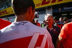 Romain Grosjean, Haas F1 Team, Gene Haas, Team Owner, Haas F1, and the Haas F1 team celebrate the team's best finish yet