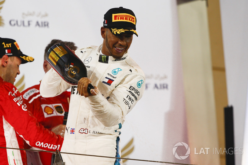 Lewis Hamilton, Mercedes AMG F1, 3rd position, celebrates with Waard, a non alcoholic Champagne subs