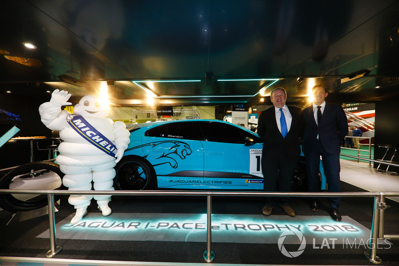 The Jaguar I-Pace eTrophy is launched, James Barclay and Pascal Couasnon stand alongside a Michelin