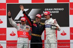 Podio: Sebastian Vettel, Scuderia Toro Rosso, Heikki Kovalainen, McLaren, Robert Kubica, BMW Sauber F1