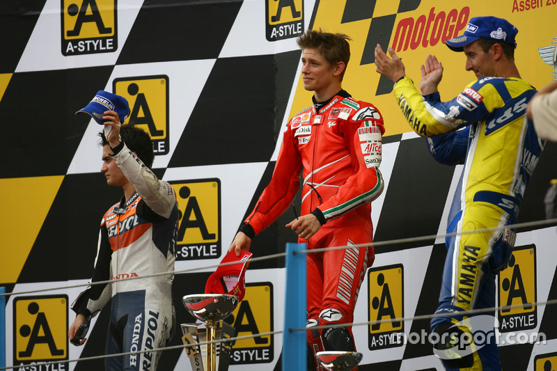 Podium: peringkat kedua Dani Pedrosa;Pemenang Casey Stoner, Ducati; peringkat ketiga Colin Edwards, Yamaha