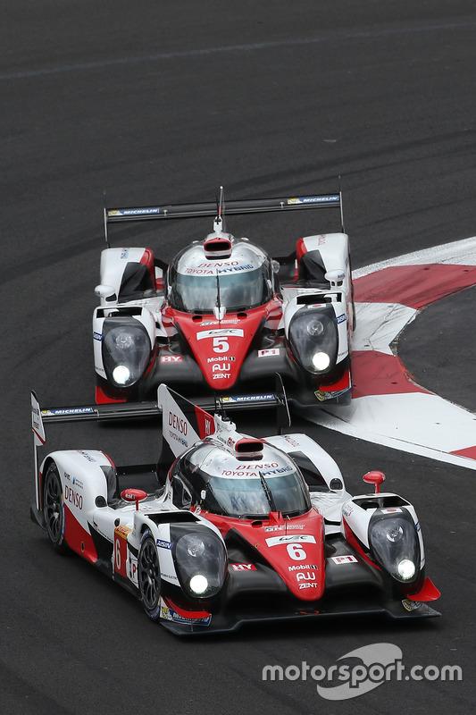 #6 Toyota Racing Toyota TS050 Hybrid: Stéphane Sarrazin, Mike Conway, Kamui Kobayashi, #5 Toyota Racing Toyota TS050 Hybrid: Sébastien Buemi, Kazuki Nakajima