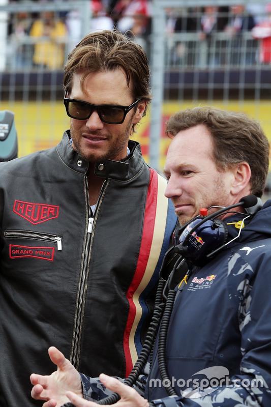 Крістіан Хорнер, голова Red Bull Racing Team з Томом Бредлі, New England Patriots Quarterback на ста