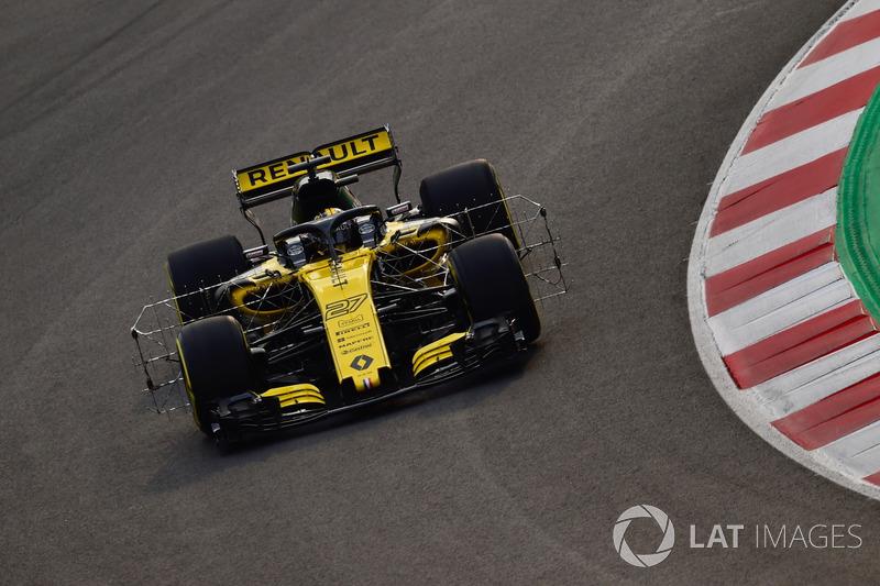 Nico Hulkenberg, Renault Sport F1 Team RS18, avec des capteurs aérodynamiques