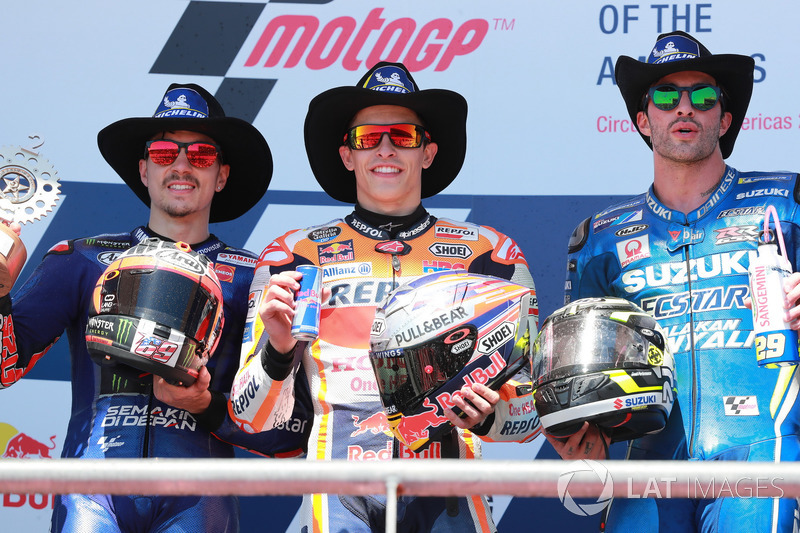 Podium: segundo, Maverick Viñales, Yamaha Factory Racing, Ganador, Marc Marquez, Repsol Honda Team, Tercero, Andrea Iannone, Team Suzuki MotoGP
