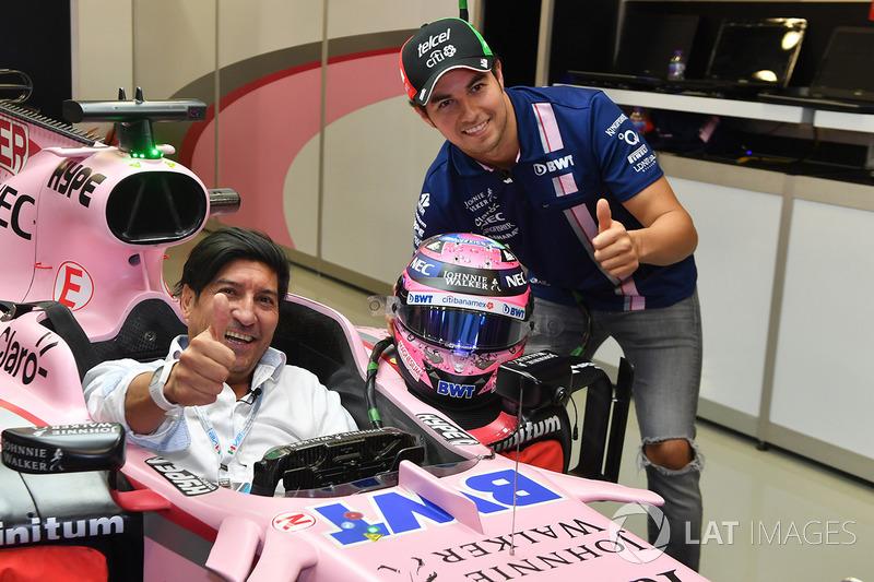 Sergio Perez, Sahara Force India VJM10 e Ivan Zamorano, jogador de futebol