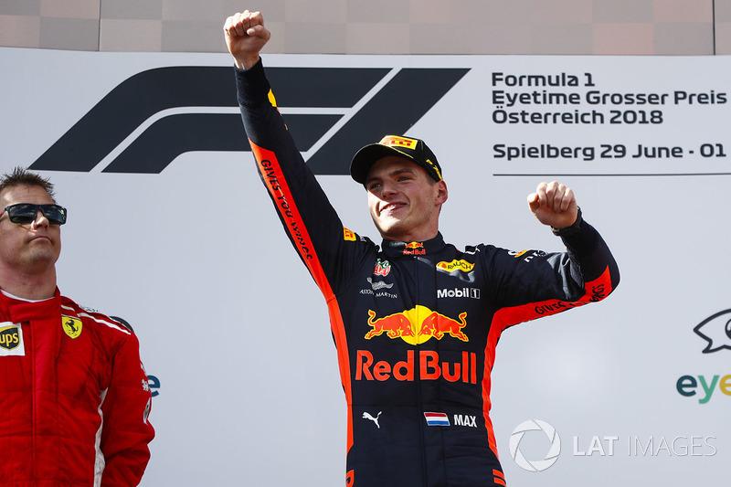 Kimi Raikkonen, Ferrari, deuxième et Max Verstappen, Red Bull Racing, vainqueur sur le podium