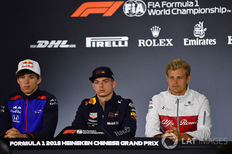 Pierre Gasly, Scuderia Toro Rosso, Max Verstappen, Red Bull Racing and Marcus Ericsson, Sauber in the Press Conference