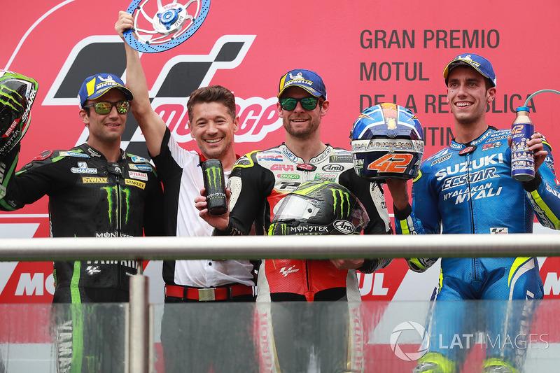 Second place Johann Zarco, Monster Yamaha Tech 3, Lucchinello, Race winner Cal Crutchlow, Team LCR Honda, Third place Alex Rins, Team Suzuki MotoGP