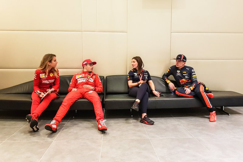 Charles Leclerc, Ferrari and Max Verstappen, Red Bull Racing