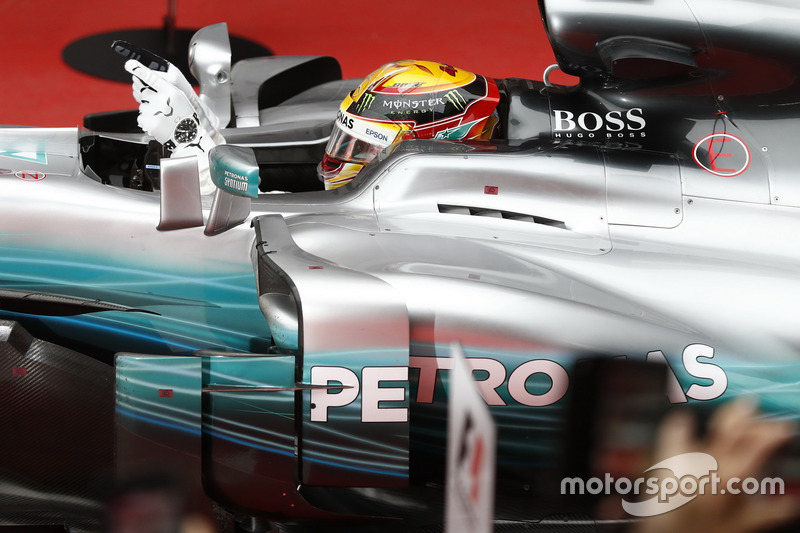Lewis Hamilton, Mercedes AMG F1 W08, arrives in parc ferme
