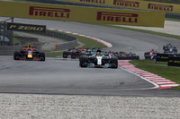 Lewis Hamilton, Mercedes-Benz F1 W08  leads at the start of the race