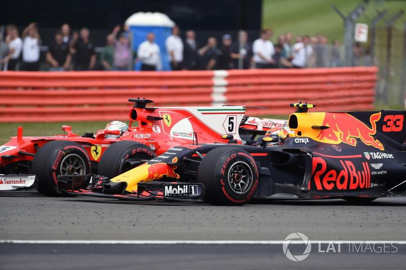 Sebastian Vettel, Ferrari SF70H and Max Verstappen, Red Bull Racing RB13