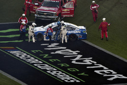 Ricky Stenhouse Jr., Roush Fenway Racing Ford wrecks on Monster sign