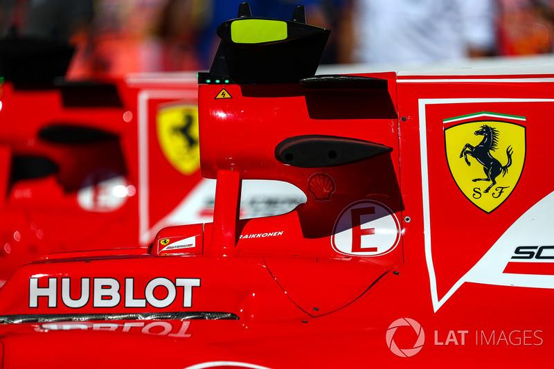 El detalle de la carrocería de Kimi Raikkonen, Ferrari SF70H en parc ferme