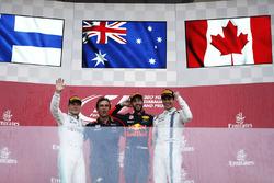 Daniel Ricciardo, Red Bull Racing, celebrates victory on the podium, Valtteri Bottas, Mercedes AMG F1, Lance Stroll, Williams