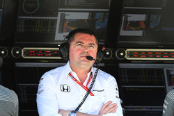 Eric Boullier, McLaren Racing Director on the pit wall gantry