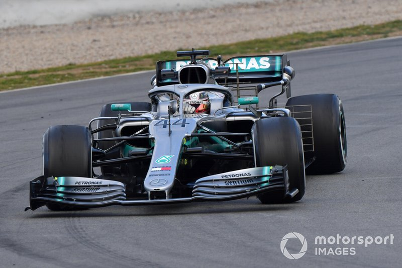 Lewis Hamilton, Mercedes-AMG F1 W10 EQ Power+ with aero sensors