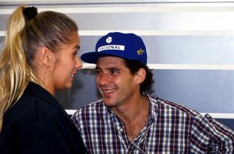 Ayrton Senna, McLaren, with his girlfriend Adrianne Galisteu