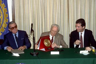 Maranello 1987, Enzo Ferrari alongside his son Piero Ferrari and the FIA President Jean Marie Balestre