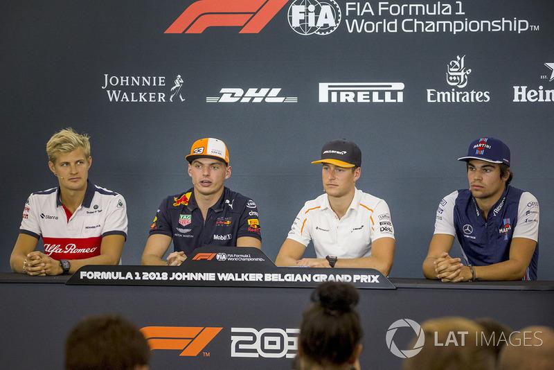 Marcus Ericsson, Sauber, Max Verstappen, Red Bull Racing, Stoffel Vandoorne, McLaren and Lance Stroll, Williams Racing in press conference