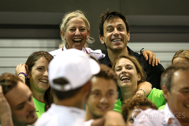 Toto Wolff, Mercedes AMG F1 Director of Motorsport celebrates, the team