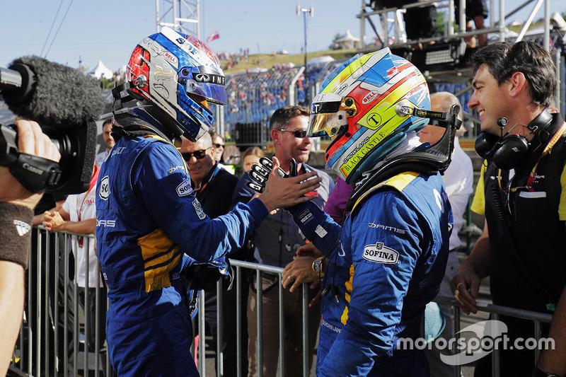 Ganador de la carrera  Oliver Rowland, DAMS, segundo lugar Nicholas Latifi