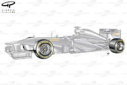 Mock Pirelli test car with Soft (yellow) compound tyres