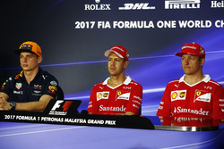 The FIA press conference. Max Verstappen, Red Bull Racing, Sebastian Vettel, Ferrari anDrivers Kimi Raikkonen, Ferrari