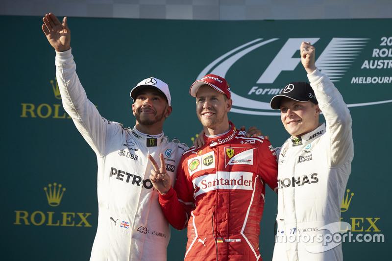 Avustralya GP: Kazanan Sebastian Vettel, 2. Lewis Hamilton, 3. Valtteri Bottas