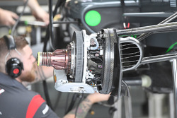 Haas VF-17 front brake and wheel hub detail
