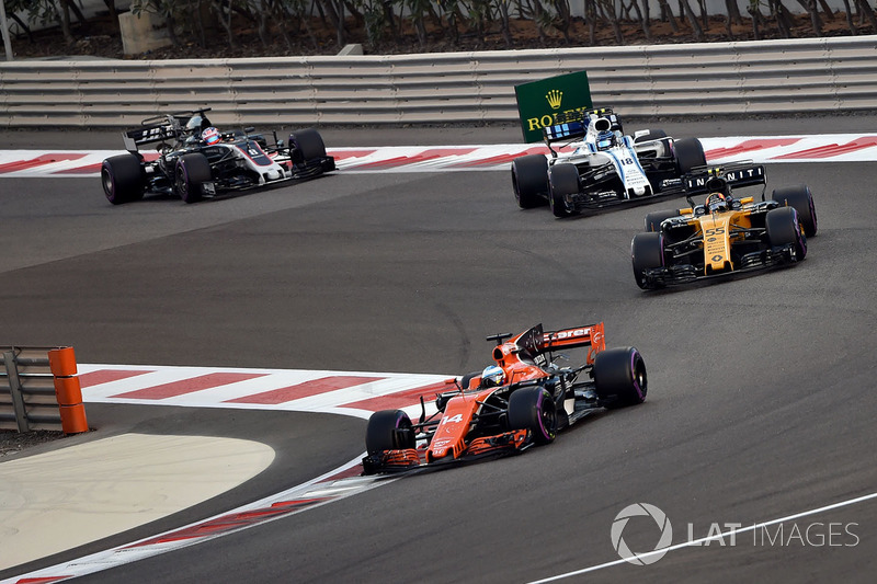 Fernando Alonso, McLaren MCL32, Carlos Sainz Jr., Renault Sport F1 Team RS17, Lance Stroll, Williams FW40 ve Romain Grosjean, Haas F1 Team VF-17