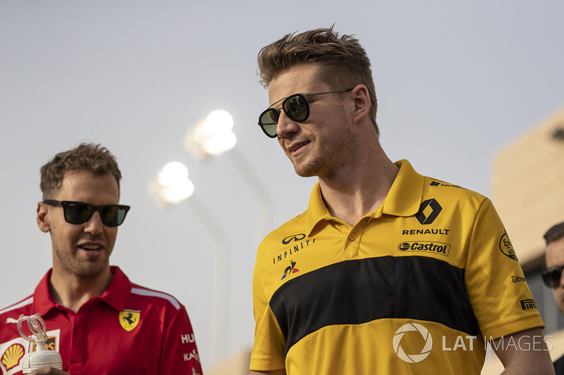 Sebastian Vettel, Ferrari and Nico Hulkenberg, Renault Sport F1 Team on the drivers parade