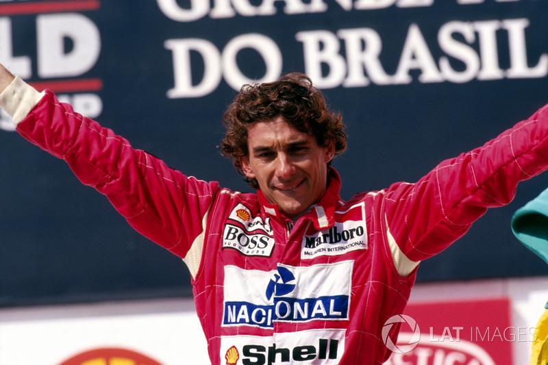 Podium : le vainqueur Ayrton Senna, McLaren