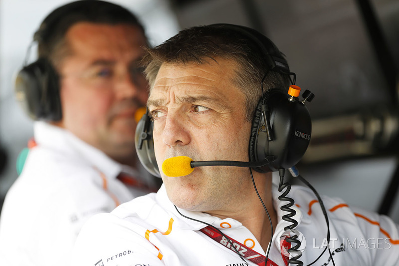 Paul James, Team Manager, McLaren, on the pit wall