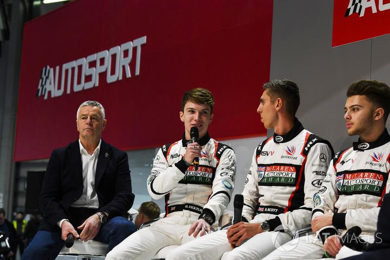 Derek Warwick, Dan Ticktum, Harrison Scott and Max Fewtrell talk to Henry Hope-Frost on the Autosport Stage
