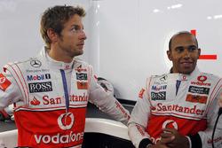 Jenson Button, McLaren, with Lewis Hamilton, McLaren