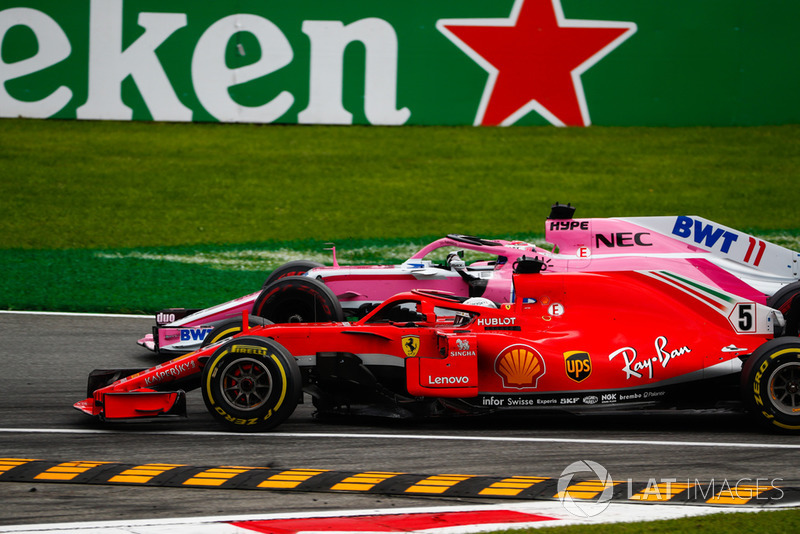 Sebastian Vettel, Ferrari SF71H, Sergio Perez, Racing Point Force India VJM11
