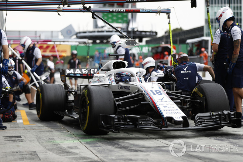 Lance Stroll, Williams FW41, pits