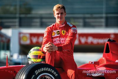 Mick Schumacher driving the Ferrari F2002