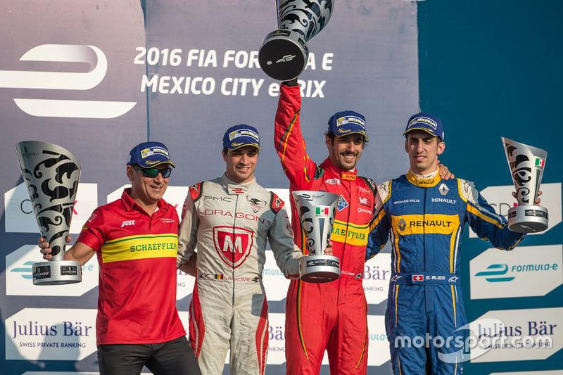 Podium: winner Lucas di Grassi, ABT Schaeffler Audi Sport, second place Jérôme d'Ambrosio, Dragon Racing, third place Sébastien Buemi, Renault e.Dams