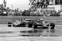 Gilles Villeneuve, Ferrari 126CK and Elio de Angelis, Lotus 87-Ford Cosworth
