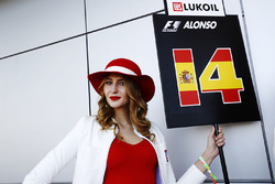 Grid girl holding Fernando Alonso's grid board