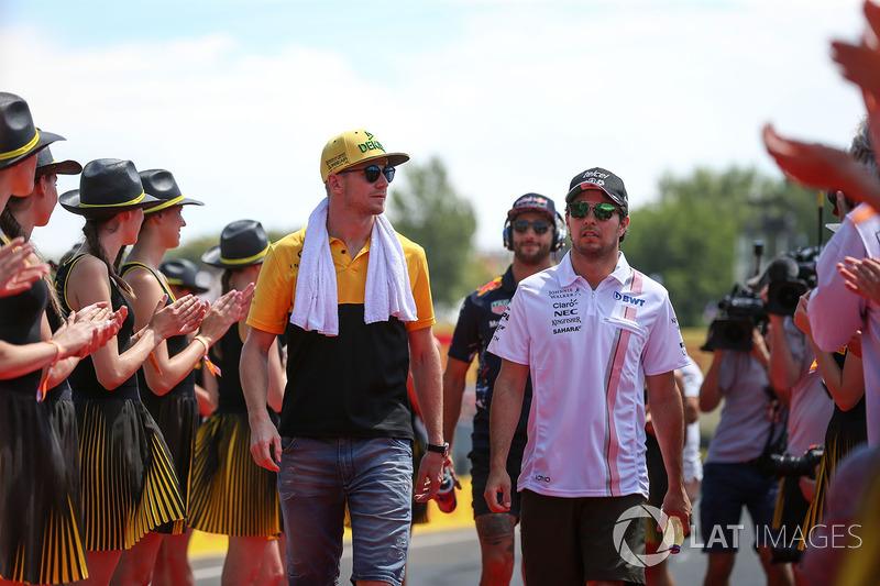 Nico Hulkenberg, Renault Sport F1 Team y Sergio Pérez, Force India