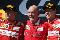 Podium: race winner Sebastian Vettel, Ferrari, second place Kimi Raikkonen, Ferrari, Jock Clear, Engineering Director, Ferrari