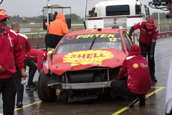 Car of Fabian Coulthard, Team Penske Ford after his crashes
