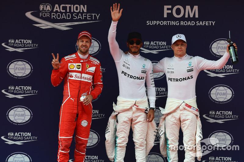 2. Sebastian Vettel, Ferrari; 1. Lewis Hamilton, Mercedes AMG F1; 3. Valtteri Bottas, Mercedes AMG F1